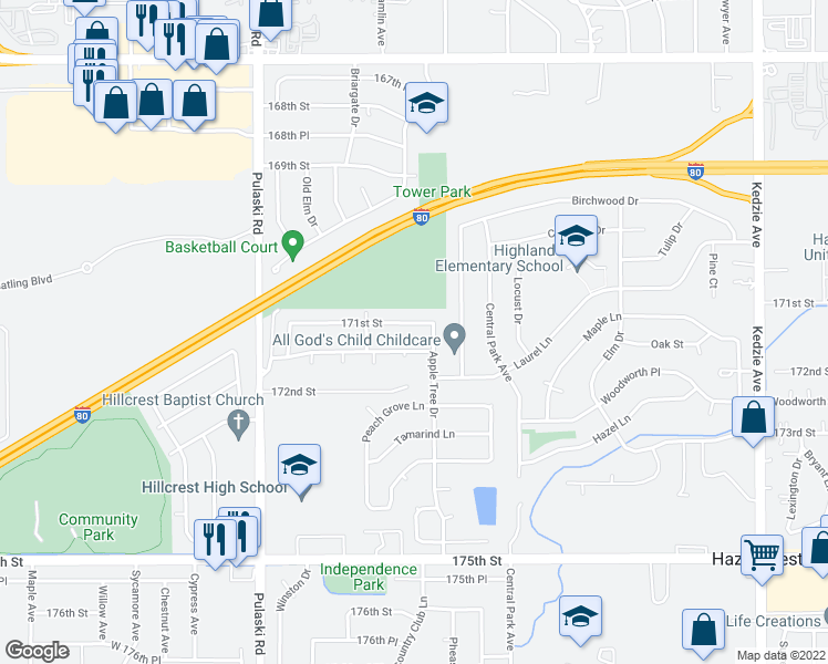 map of restaurants, bars, coffee shops, grocery stores, and more near 3734 171st Street in Country Club Hills