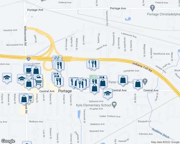 map of restaurants, bars, coffee shops, grocery stores, and more near 2540 Portage Avenue in Portage