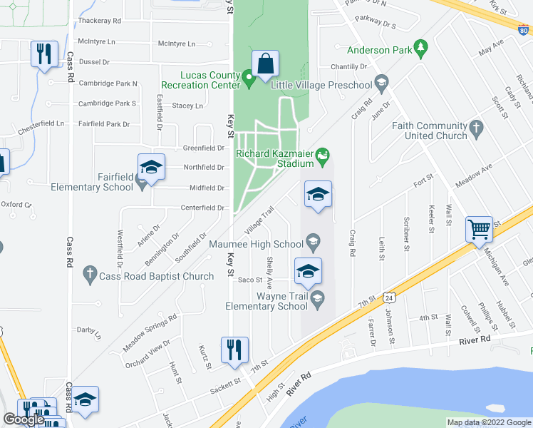map of restaurants, bars, coffee shops, grocery stores, and more near Village Trail in Maumee