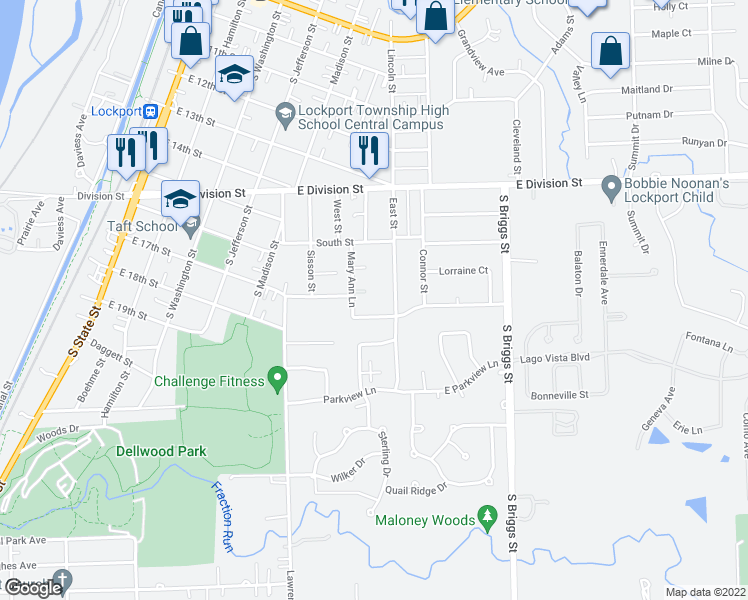 map of restaurants, bars, coffee shops, grocery stores, and more near 552-598 Rosanne Lane in Lockport
