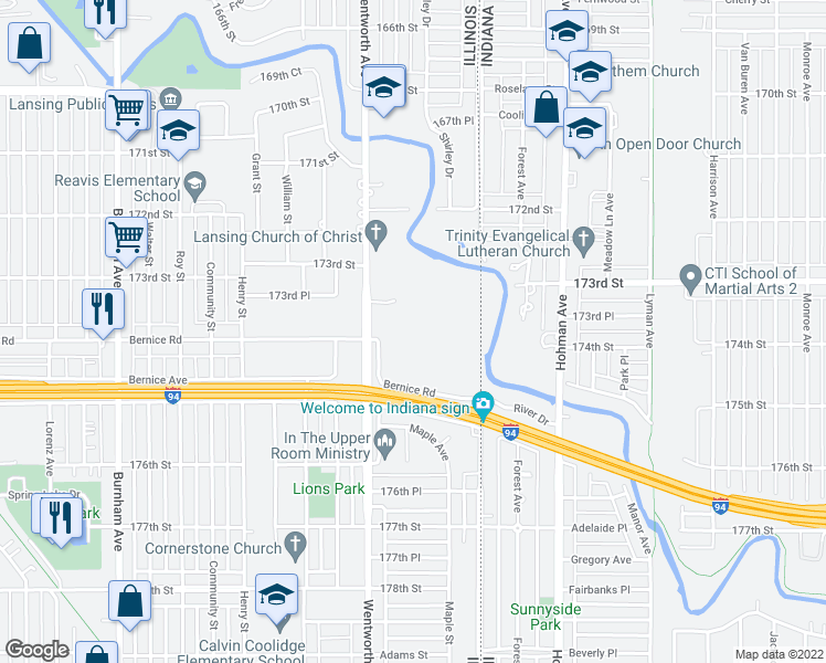 map of restaurants, bars, coffee shops, grocery stores, and more near 3600 173rd Court in Lansing