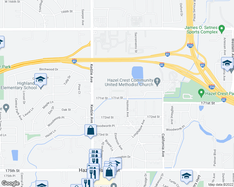 map of restaurants, bars, coffee shops, grocery stores, and more near 3012 171st Street in Hazel Crest