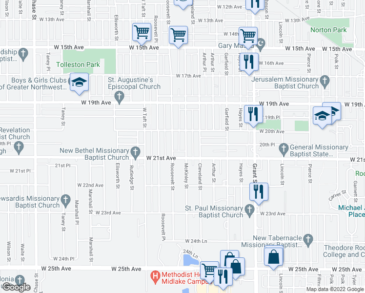 map of restaurants, bars, coffee shops, grocery stores, and more near 2054 McKinley Street in Gary