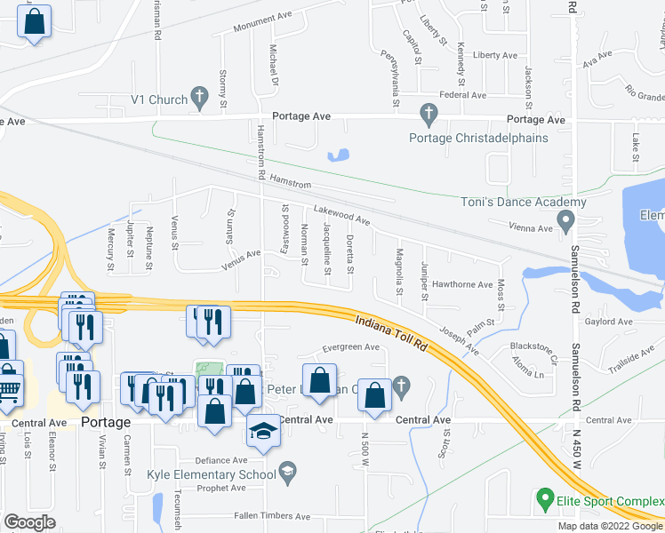 map of restaurants, bars, coffee shops, grocery stores, and more near 2435 Jacqueline Street in Portage