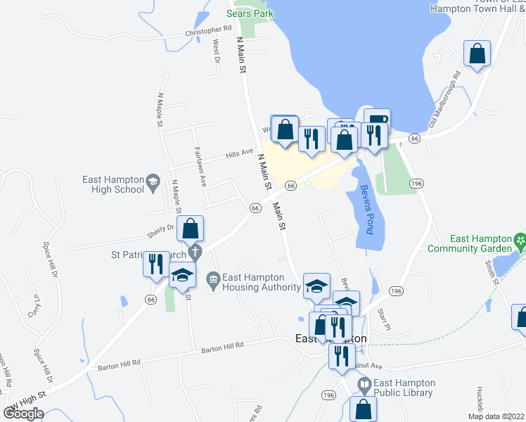 map of restaurants, bars, coffee shops, grocery stores, and more near 9 West High Street in East Hampton