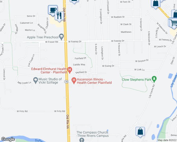 map of restaurants, bars, coffee shops, grocery stores, and more near 23824 Dayfield Drive in Plainfield