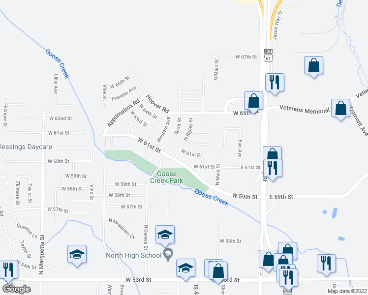map of restaurants, bars, coffee shops, grocery stores, and more near 6205 North Ripley Street in Davenport