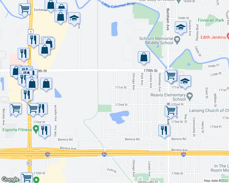 map of restaurants, bars, coffee shops, grocery stores, and more near 17112 Oakwood Avenue in Lansing