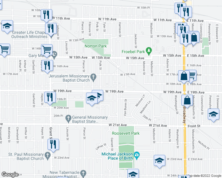 map of restaurants, bars, coffee shops, grocery stores, and more near 832 West 19th Avenue in Gary