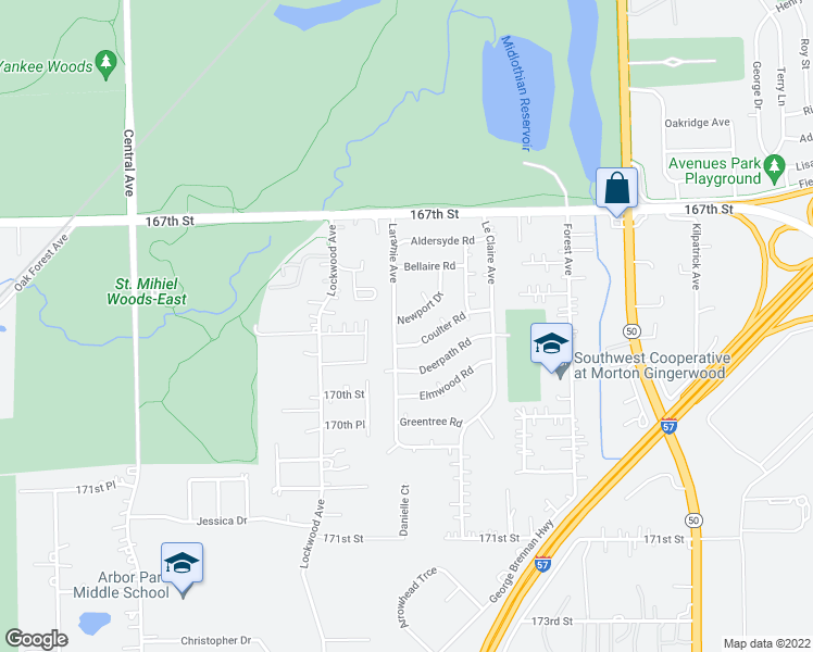 map of restaurants, bars, coffee shops, grocery stores, and more near 5185 Newport Drive in Oak Forest