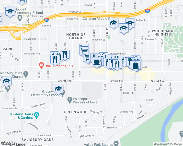 map of restaurants, bars, coffee shops, grocery stores, and more near 3333 Grand Avenue in Des Moines