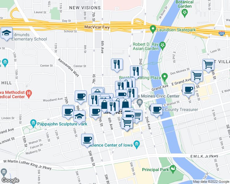 map of restaurants, bars, coffee shops, grocery stores, and more near 555 5th Avenue in Des Moines