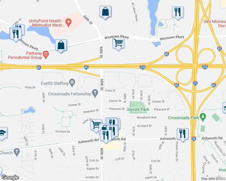 map of restaurants, bars, coffee shops, grocery stores, and more near 5832 Vista Drive in West Des Moines