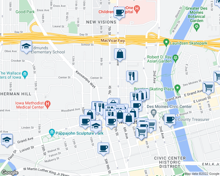 map of restaurants, bars, coffee shops, grocery stores, and more near 7th Street & Park Street in Des Moines