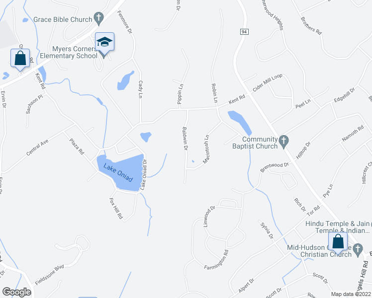 map of restaurants, bars, coffee shops, grocery stores, and more near Baldwin Drive in Myers Corner