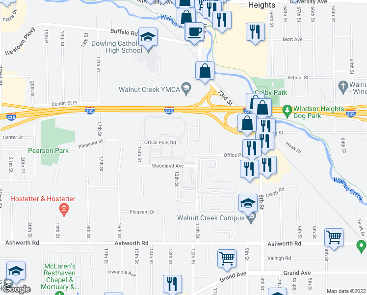 map of restaurants, bars, coffee shops, grocery stores, and more near 1205 Office Park Road in West Des Moines