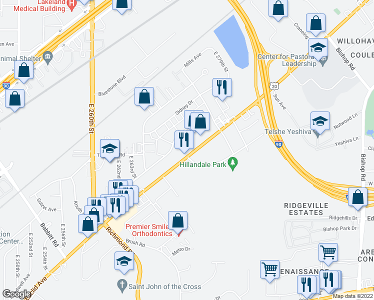 map of restaurants, bars, coffee shops, grocery stores, and more near 27061 Sidney Drive in Euclid
