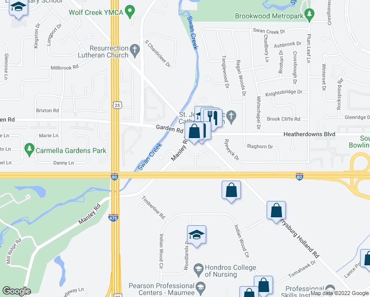 map of restaurants, bars, coffee shops, grocery stores, and more near 2611 Pine Trace Drive in Maumee