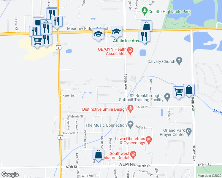 map of restaurants, bars, coffee shops, grocery stores, and more near 10851 Anthony Drive in Orland Park