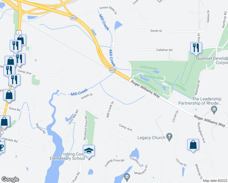 map of restaurants, bars, coffee shops, grocery stores, and more near 100 Waterwheel Lane in North Kingstown