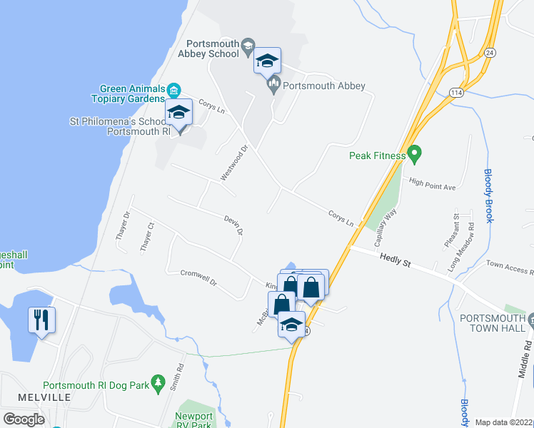 map of restaurants, bars, coffee shops, grocery stores, and more near 125 Corys Lane in Portsmouth