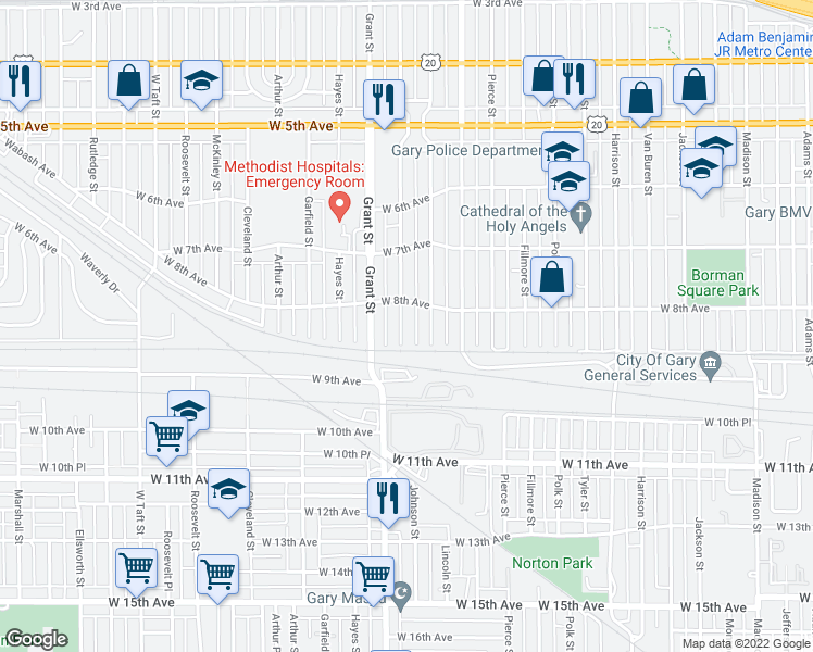 map of restaurants, bars, coffee shops, grocery stores, and more near 829 johnson Street in Gary