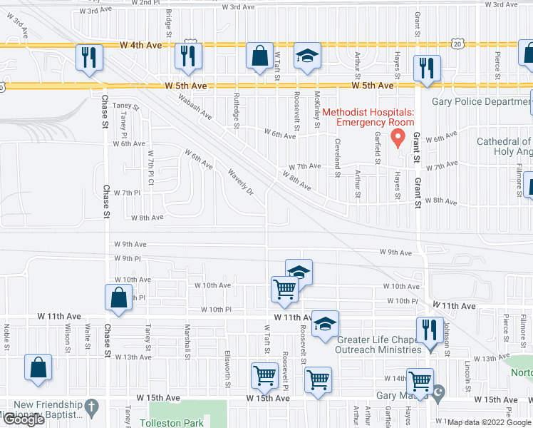 map of restaurants, bars, coffee shops, grocery stores, and more near 775-799 Taft Street in Gary