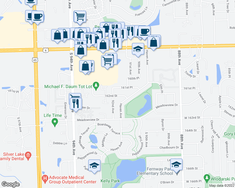 map of restaurants, bars, coffee shops, grocery stores, and more near 9180 162nd Street in Orland Hills