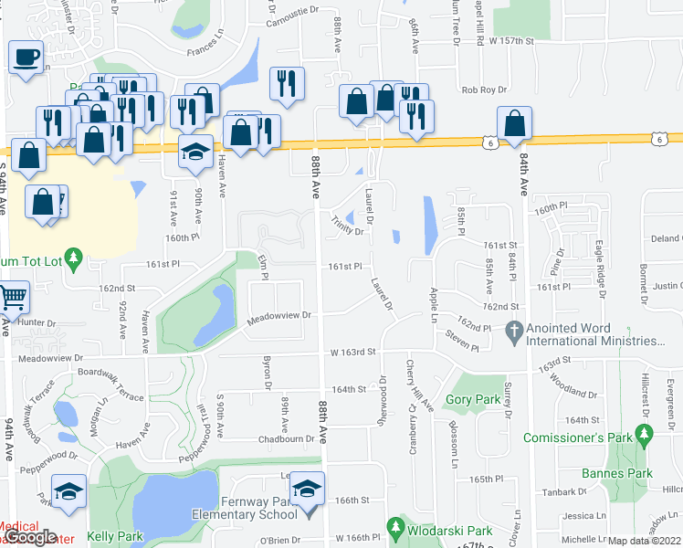 map of restaurants, bars, coffee shops, grocery stores, and more near 8741 West 161st Place in Orland Park