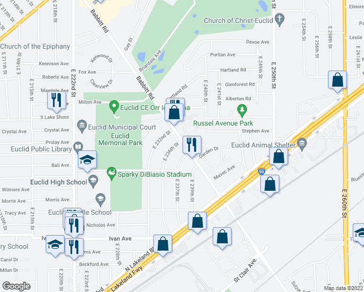 map of restaurants, bars, coffee shops, grocery stores, and more near 770 Babbitt Road in Euclid