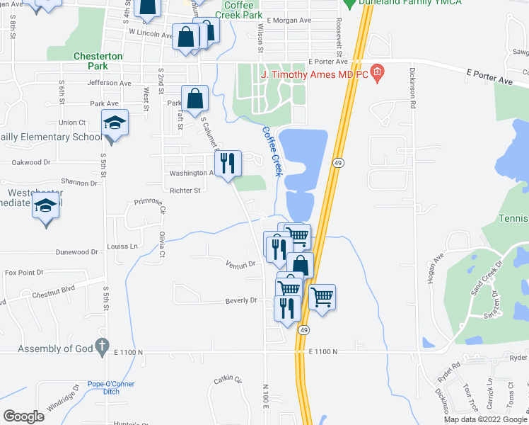 map of restaurants, bars, coffee shops, grocery stores, and more near 120 Abbey Lane in Chesterton