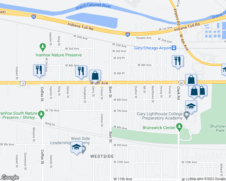 map of restaurants, bars, coffee shops, grocery stores, and more near 537 Burr Street in Gary