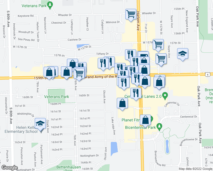 map of restaurants, bars, coffee shops, grocery stores, and more near 17434 Oak Park Avenue in Tinley Park