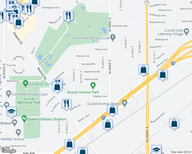 map of restaurants, bars, coffee shops, grocery stores, and more near 24571 Alberton Road in Euclid