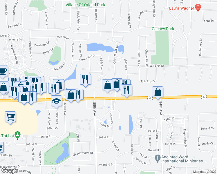 map of restaurants, bars, coffee shops, grocery stores, and more near 15828 Orlan Brook Drive in Orland Park
