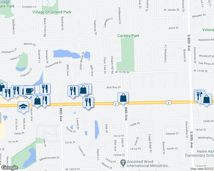 map of restaurants, bars, coffee shops, grocery stores, and more near 8448 Rob Roy Drive in Orland Park