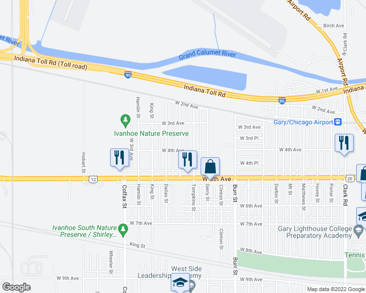 map of restaurants, bars, coffee shops, grocery stores, and more near 373 Calhoun Street in Gary