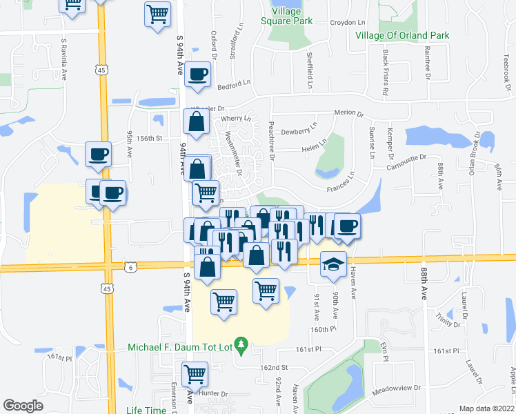 map of restaurants, bars, coffee shops, grocery stores, and more near 15711 Chesterfield Lane in Orland Park
