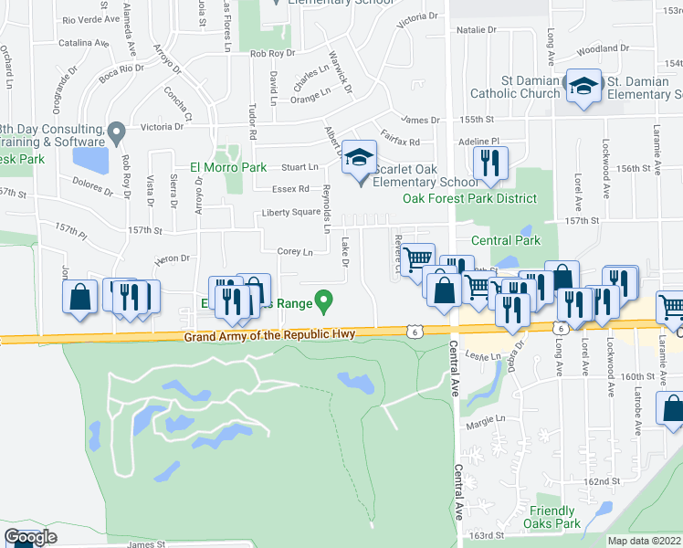 map of restaurants, bars, coffee shops, grocery stores, and more near 15740 Lake Drive in Oak Forest