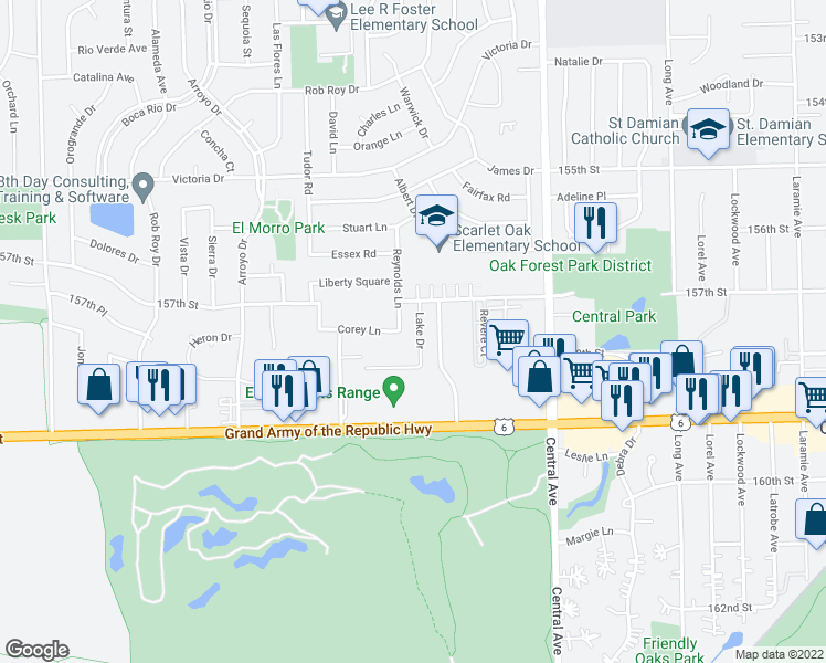 map of restaurants, bars, coffee shops, grocery stores, and more near 15722 Lake Drive in Oak Forest