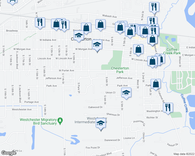 map of restaurants, bars, coffee shops, grocery stores, and more near Jefferson Avenue in Chesterton