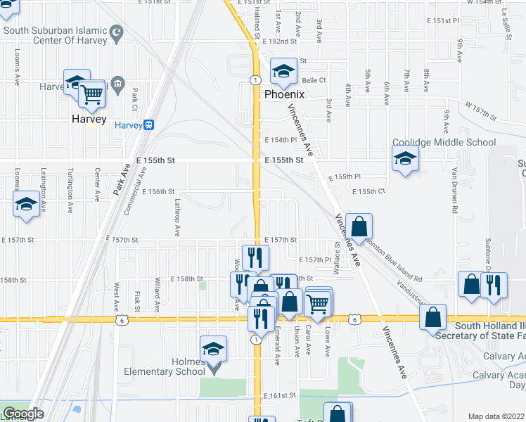 map of restaurants, bars, coffee shops, grocery stores, and more near 15613 Halsted Street in Harvey
