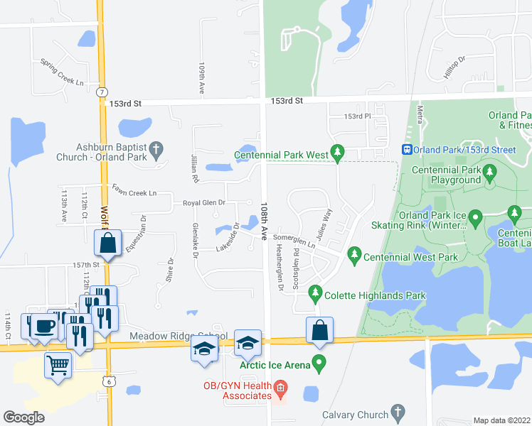 map of restaurants, bars, coffee shops, grocery stores, and more near 15603 108th Avenue in Orland Park