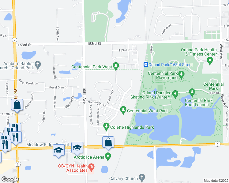 map of restaurants, bars, coffee shops, grocery stores, and more near 15541 Julies Way in Orland Park