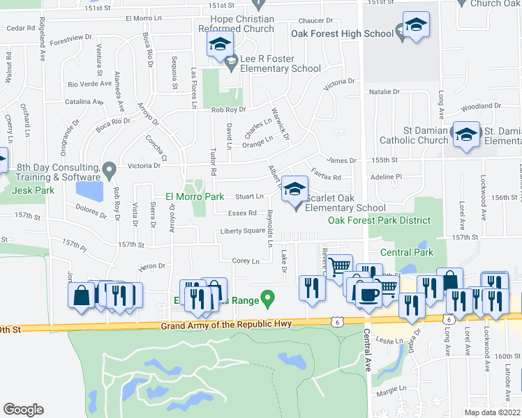 map of restaurants, bars, coffee shops, grocery stores, and more near 5820 Essex Road in Oak Forest