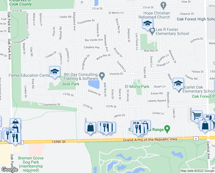 map of restaurants, bars, coffee shops, grocery stores, and more near 15531 Rob Roy Drive in Oak Forest