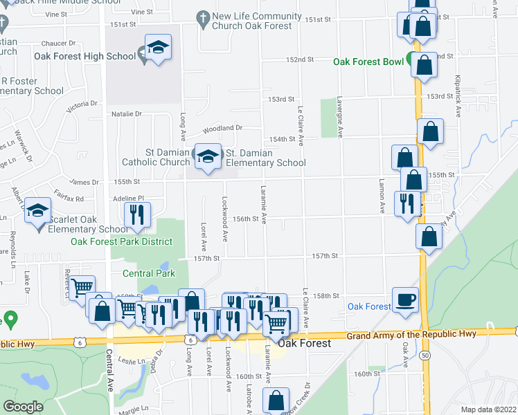map of restaurants, bars, coffee shops, grocery stores, and more near 15534 Laramie Avenue in Oak Forest