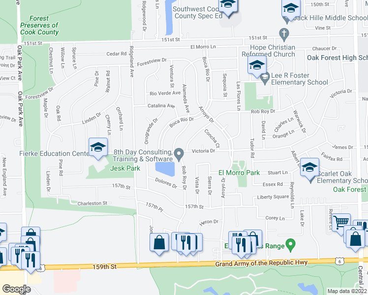 map of restaurants, bars, coffee shops, grocery stores, and more near 6200 Rob Roy Drive in Oak Forest