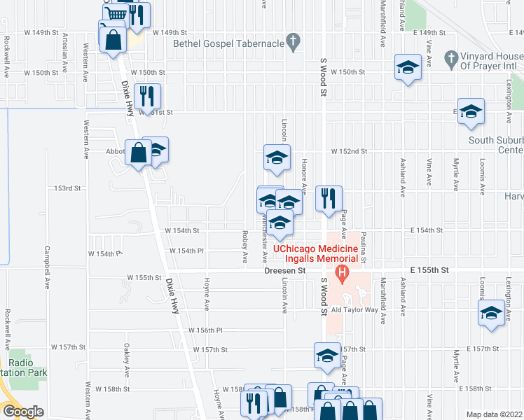 map of restaurants, bars, coffee shops, grocery stores, and more near 15318 Winchester Avenue in Harvey