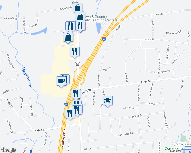 map of restaurants, bars, coffee shops, grocery stores, and more near 55 Russet Lane in Southington